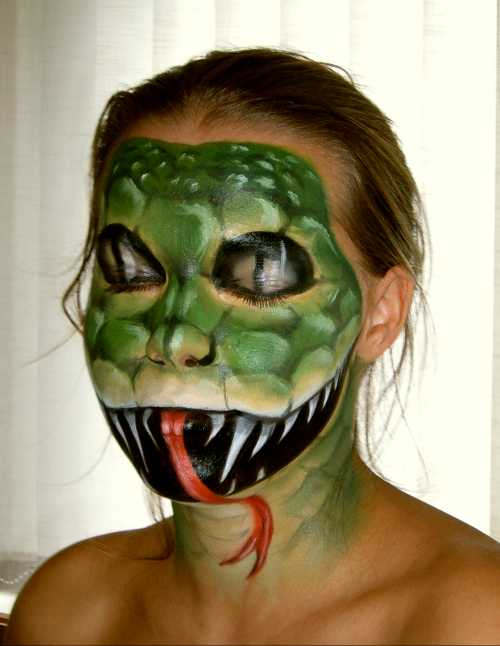 body painting art with monster face and flower