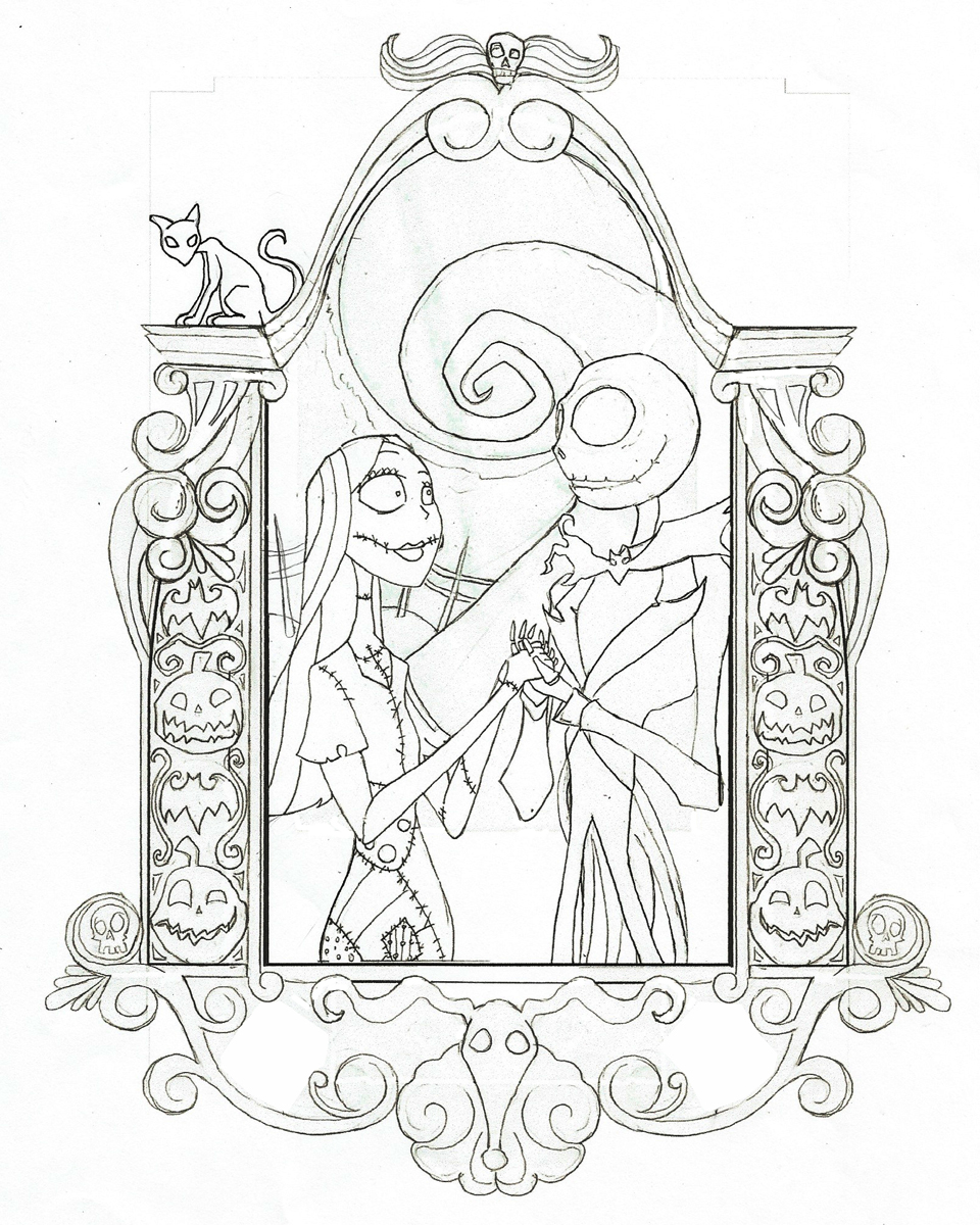 Jack and sally nouveau nightmare before christmas by for Jack and sally coloring pages