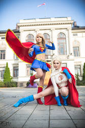Supergirl and Power Girl by Rinaca-Cosplay