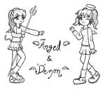 angel and devil lineart by KattyJL