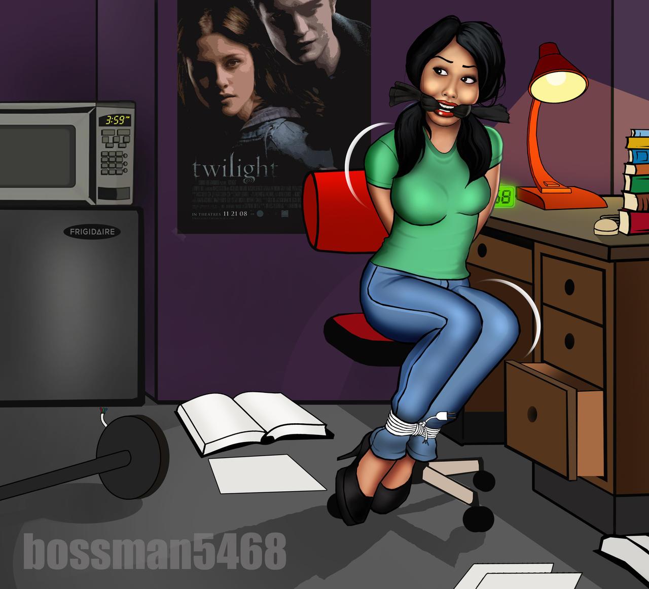 bossman5468 bondage Dorm Room Theft (Study Break) continued.... by bossman5468-2