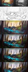 .'Blue'fly - step by step by Enayol