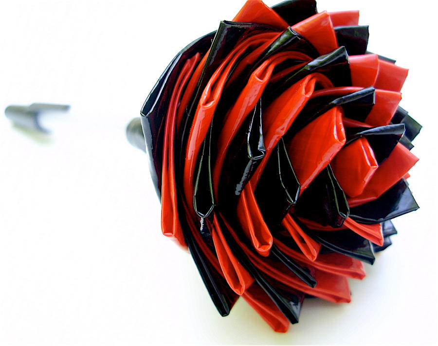Black And Red Duct Tape Rose By Bobtheenchantedone On