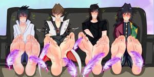 Gift Sasuke, Kaiba, Noctis and Giyuu (Tickled ver)