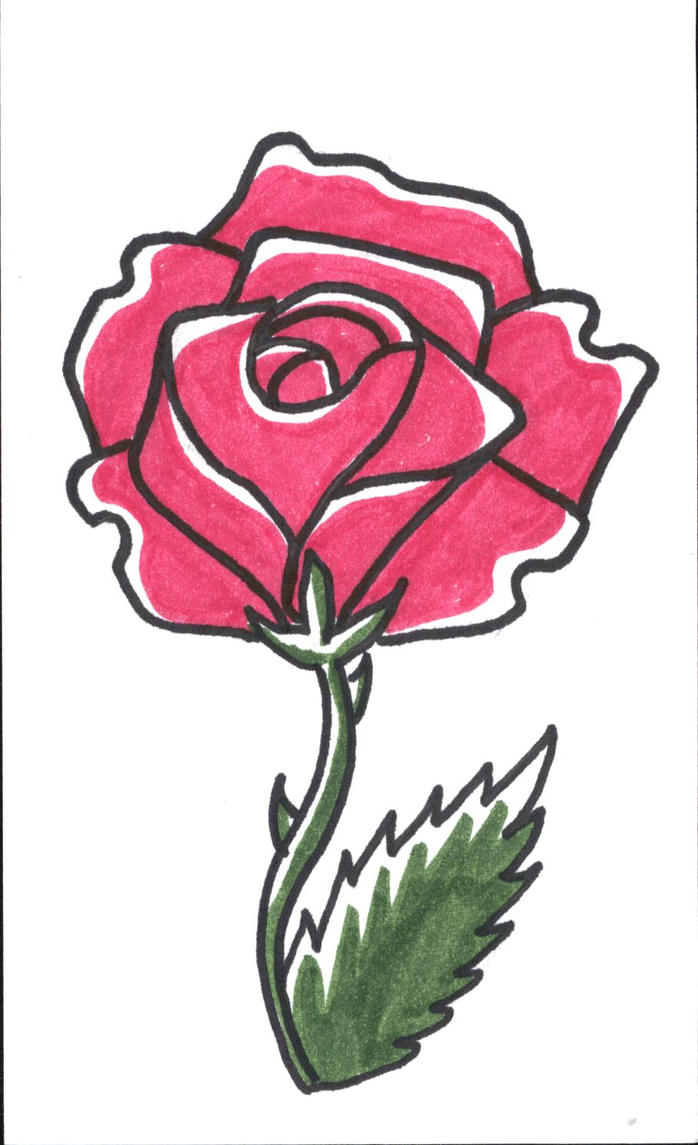 Easy Drawing Of A Rose A Simple Rose b...