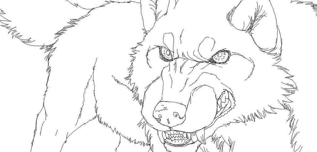 Lineart Wolf Tattoo : Snarling wolf lineart