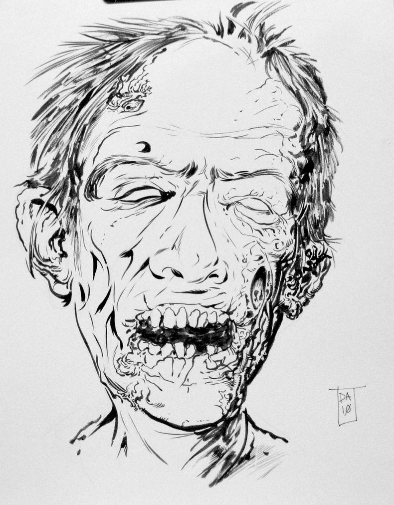 Zombie Face by Dave-AcostaZombie Face Drawing