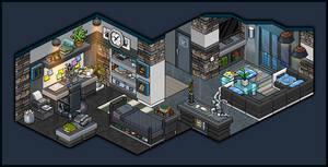 Modern apartment bedroom for male design