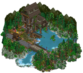 Old house by the river by Cutiezor