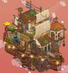 Flying house ship