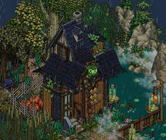 Witch's cottage in the woods