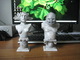 faun and ogre bust