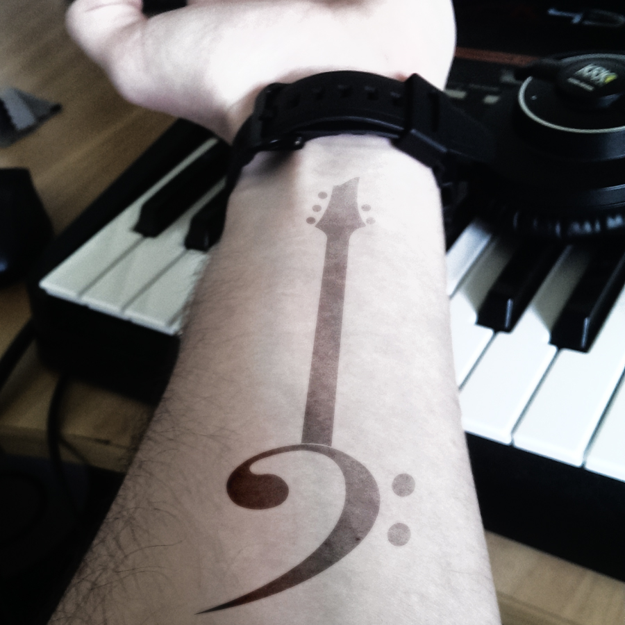 Bass Guitar Note Tattoos