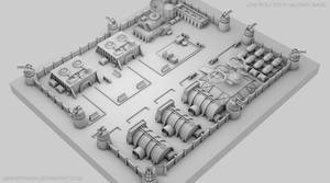 Low Poly / Sci fi Military Base / 01