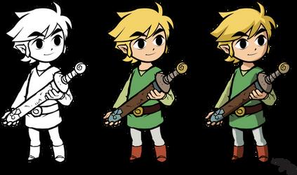 Toon Link (Holding sword) by rodrigobatalhone