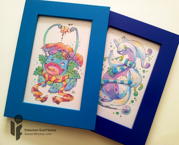 Pokemon Scarf Series: Venusaur and Goodra (Framed) by cheru3