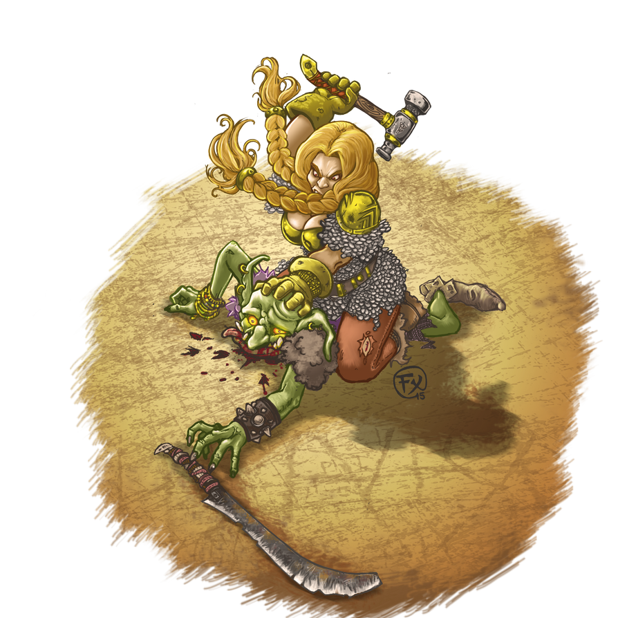 Choose the winner !!  Dwarf girl vs Goblin ? by effix35