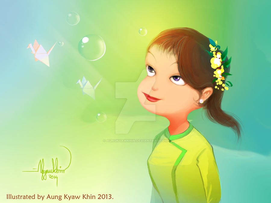 Myanmar Little Girl by AungKyawKhin