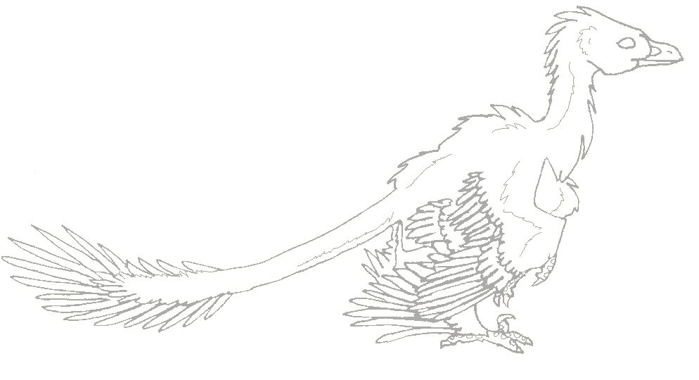 microraptor lineart by bluefluffydinosaur