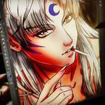 Sesshomaru - Morning Cigarrette -Fanart - close up