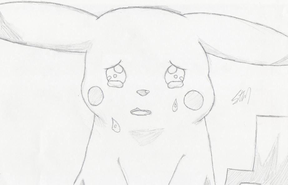 Pikachu crying drawing - photo#17