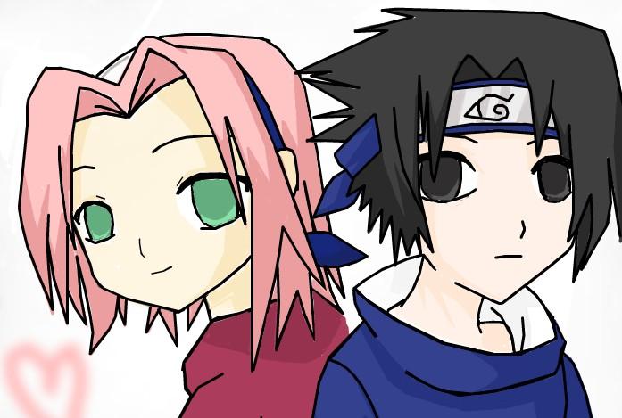 Chibi Sakura and Sasuke by AniimeLoverr