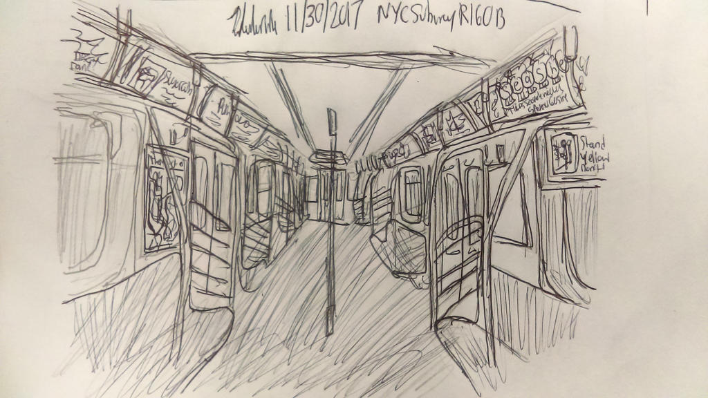Line Drawing Nyc : Inside the nyc subway r160b car by johng15 on deviantart
