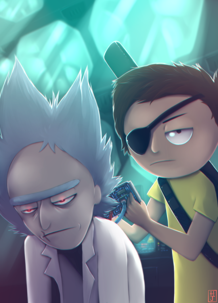Evil Rick and Morty by puppkin
