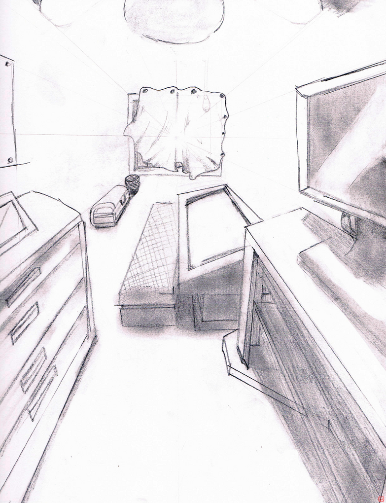 9'' x 12'' One Point Perspective: Room by Suchivvu