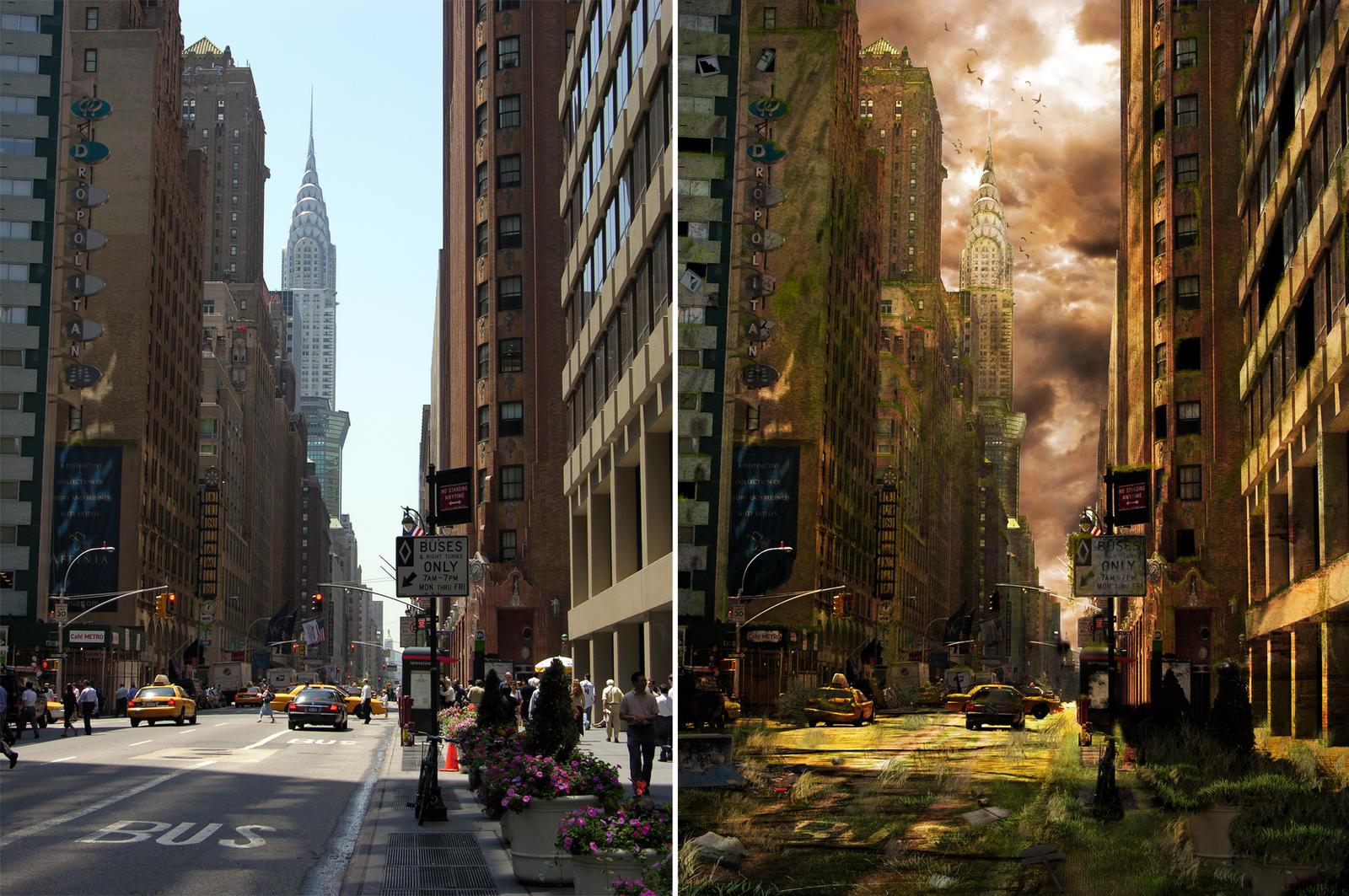Apocalyptic City training... by pete753ad on DeviantArt Разрушенный Город в Фотошопе