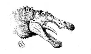 baryonyx  1 black and white by deinoscaos