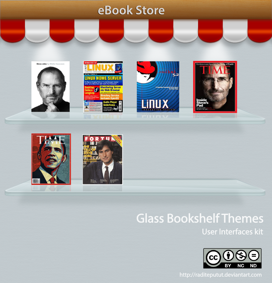 Glass Bookshelf UI Kit iOS Android Themes by raditeputut