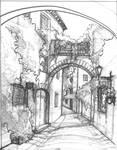 Mediterranean street sketch