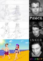 MDCartoons - Three-Way Art Collaboration by MDKartoons