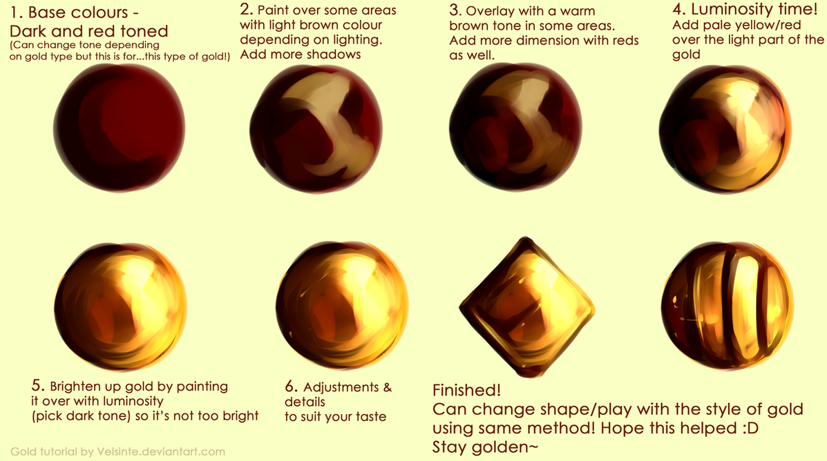 Tutorial gold by velsinte on deviantart for How to make metallic paint