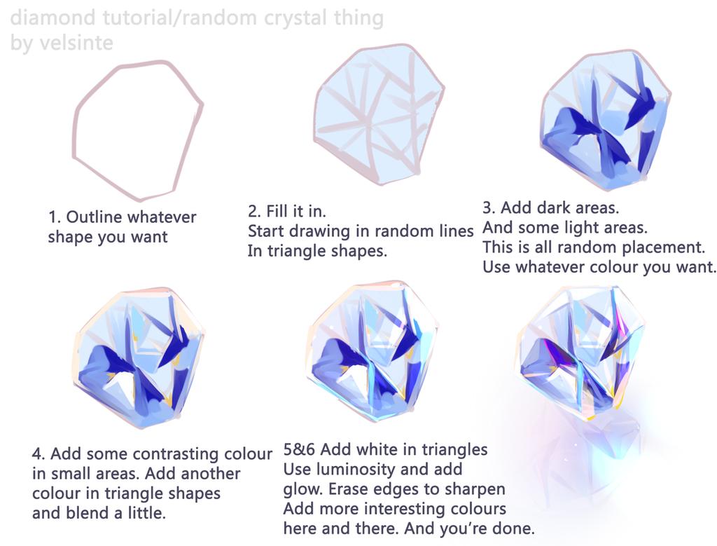 Diamond/Crystal step by step Tutorial by Velsinte