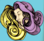 woman in blue, gold, purple