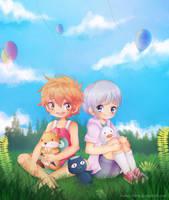.Momo and Nitori. by lNeko-Hime