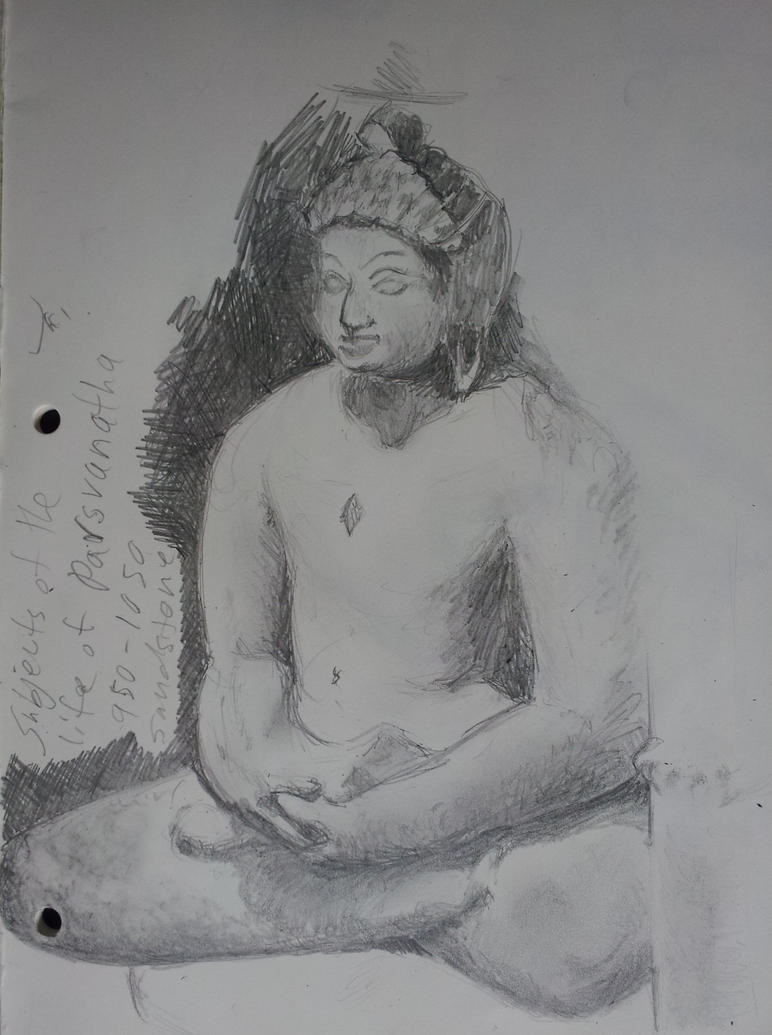 Sketch from the Life of Parsvanatha sculpture, DIA by DevonianFossil