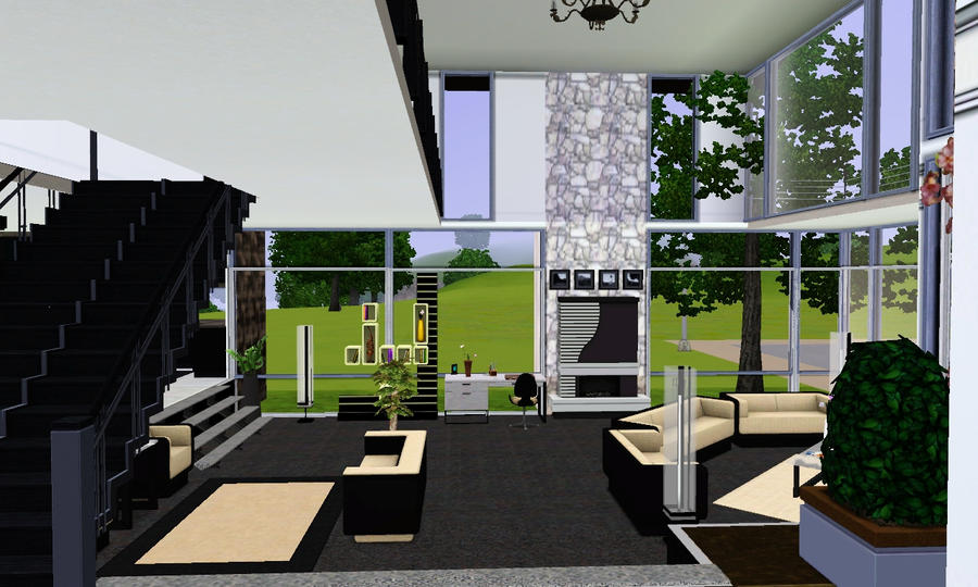 Living room int sims house by uni99 on deviantart for Living room ideas sims 3