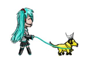 Chibi Miku with doggie Rin by Alotika