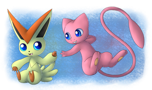 Redraw: Victini and Mew! by Bokue