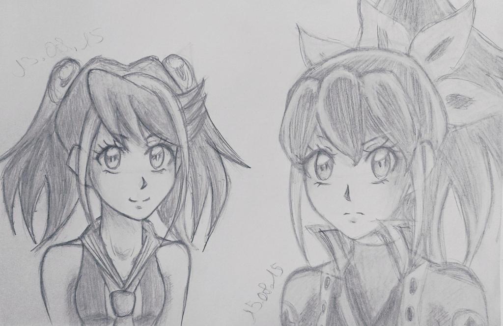 Yuzu and Serena Sketch by EvilAngelofKC17
