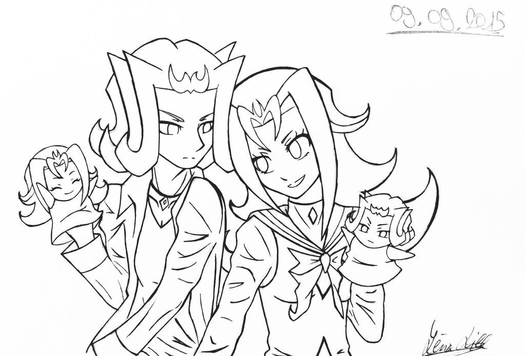 Kamishiro Twins (lineart) by EvilAngelofKC17