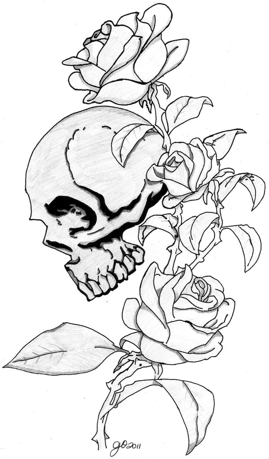 skull and roses by eltattooartist on deviantart