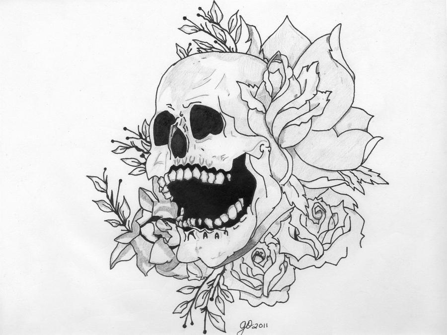 Skull and Flowers Tattoo Image by ElTattooArtist on DeviantArt