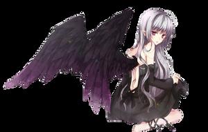 Black Winged Anime Girl Render