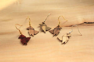 origami earrings - wooden jewerly
