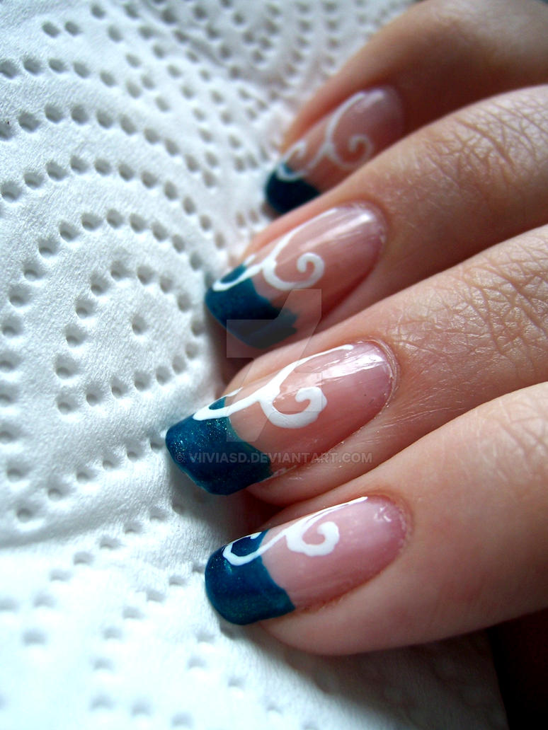 Blue French manicure nails with White flourish by ViiviASD on DeviantArt
