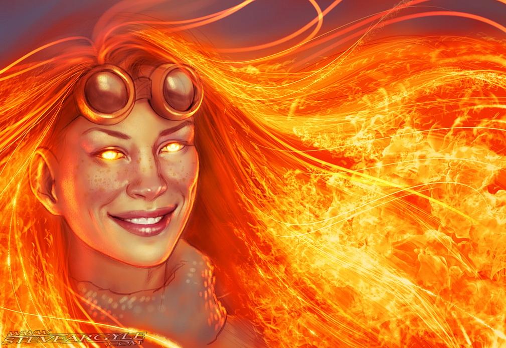 SketchFit!  Evangeline Lilly as Chandra Nalaar by SteveArgyle